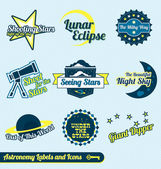 Vector Set: Astronomy and Stars Labels and Icons — Stock Vector