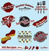 Vector Set: BBQ and Meats Labels and Icons — Stock Vector