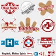 Vector Set: Vintage Medical and Hospital Labels and Icons — Stock Vector