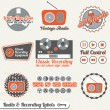 Vector Set: Vintage Recording and Radio Labels and Icons — Stock Vector