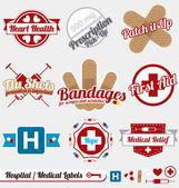 Conjunto de vectores: etiquetas de médicos y hospitalarios de la vendimia y los iconos — Vector de stock