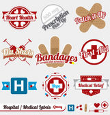 Vector Set: Vintage Medical and Hospital Labels and Icons — ストックベクタ
