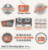 Vector Set: Vintage Recording and Radio Labels and Icons — ストックベクタ