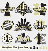 Vector Set: Vintage Chess Piece Labels and Icons — Stock Vector