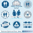 Stock Vector: Vector Set: Bathroom Restroom Labels and Icons