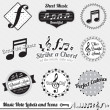 Vector Set: Vintage Music Notes Labels and Icons — Stockvektor