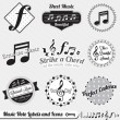 Vector Set: Vintage Music Notes Labels and Icons — Stockvectorbeeld