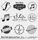 Vector Set: Vintage Music Notes Labels and Icons — Stock vektor