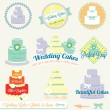 Stock Vector: Vector Set: Vintage Wedding Cake Labels and Icons