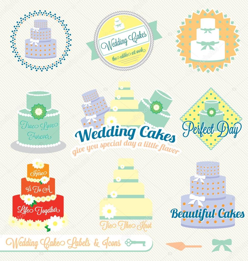 Collection of retro style wedding cake labels and icons — Stock Vector #14295253