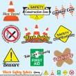 Vector Set: Work Safety and Construction Labels and Icons — Stock Vector