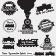 Vector Set: Train and Locomotive Labels and Icons - Stock Vector