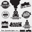 Vector Set: Train and Locomotive Labels and Icons - Векторная иллюстрация