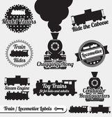 Conjunto de vectores: etiquetas de tren y de la locomotora y los iconos — Vector de stock