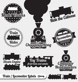 Vector Set: Train and Locomotive Labels and Icons — Stok Vektör