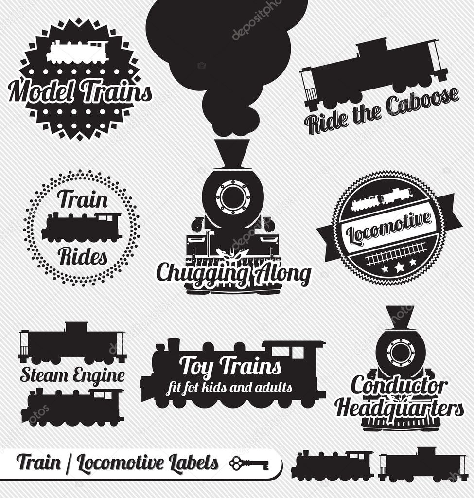 Collection of vintage train and locomotive labels and icons  Imagens vectoriais em stock #14365221