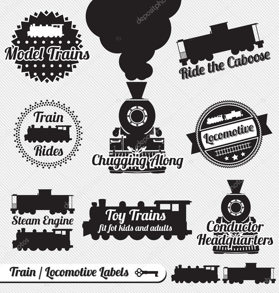 Collection of vintage train and locomotive labels and icons — Image vectorielle #14365221