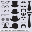 Stock Vector: Vector Set: Mix of Mustache, Hats, Ties, and Glasses