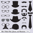Royalty-Free Stock 矢量图片: Vector Set: Mix of Mustache, Hats, Ties, and Glasses