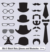 Vector Set: Mix of Mustache, Hats, Ties, and Glasses — Stockvektor