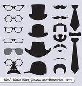Vector set: bıyık, şapka, kravat ve gözlük karışımı — Stok Vektör