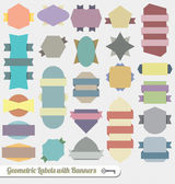 Vector Set: Colorful Ribbon Banner Labels and Icons — Stock Vector