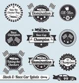 Conjunto de vetores: rótulos de corrida campeão carro e crachás — Vetorial Stock