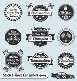 Vector Set: Race Car Champion Labels and Badges — Stockvektor