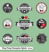 Conjunto de vetores: rótulos campeão de pingue-pongue do vintage — Vetorial Stock