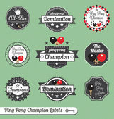 Vector Set: Vintage Ping Pong Champion Labels — Stock Vector