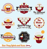 Vector Set: Beer Pong Champion Labels and Icons — Stock Vector