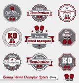 Conjunto de vectores: etiquetas de boxeo campeón del mundo y los iconos — Vector de stock
