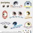 Stock Vector: Vector Set: Eyeball and Tagline Labels and Icons