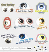 Vector Set: Eyeball and Tagline Labels and Icons — Stock Vector