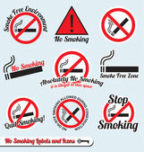 Vector Set: No Smoking Sign Labels and Icons — Vettoriale Stock