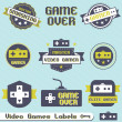 Vector Set: Vintage Video Game Labels and Icons — Stock Vector