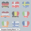 European Flag Heart Labels and Icons — ストックベクタ