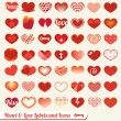 Vector Set: Heart and Love Labels and Icons — Grafika wektorowa