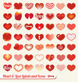 Vector Set: Heart and Love Labels and Icons — Stok Vektör