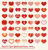Vector set: kalp ve sevgi etiketler ve simgeler — Stok Vektör