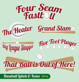 Vector Set: Baseball Bat and Ball Labels and Icons — Stockvektor