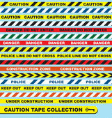 Vector Set: Caution Tape Labels and Banners — Stock Vector