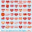 Vector Set: Hearts with Tag Lines Labels and Icons — Stock Vector