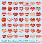 Vector Set: Hearts with Tag Lines Labels and Icons — Stockvektor