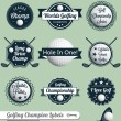 Vector Set: Golfing Labels and Icons — Stok Vektör
