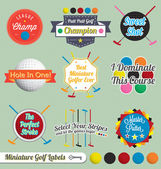 Vector Set: Miniature Golf Labels and Icons — Stock Vector