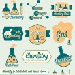 Stock Vector: Vector Set: Vintage Chemistry Class Labels and Icons