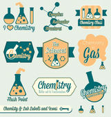 Vector Set: Vintage Chemistry Class Labels and Icons — Stock Vector