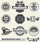 Conjunto de vectores: etiquetas y los iconos mezclados de los artes mariscal — Vector de stock