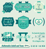 Vector Set: Vintage Math Class Labels and Icons — Stock Vector
